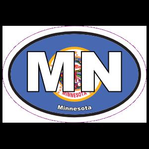 Minnesota Mn State Flag Oval Sticker