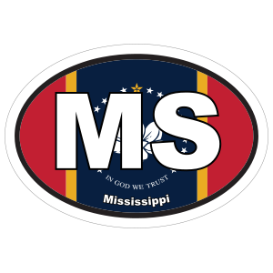 Mississippi Ms State Flag Oval Sticker
