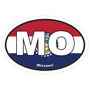 Missouri Mo State Flag Oval Sticker