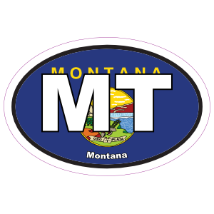 Montana Flag Oval Sticker