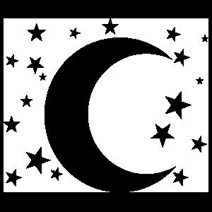 Cresent Moon And Stars Sticker