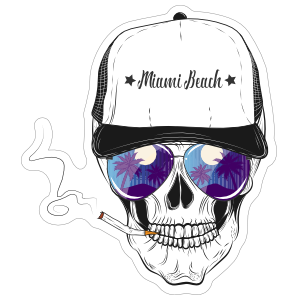 Moon Glow Glasses Skull in Baseball Cap Sticker