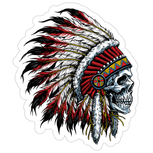 Native American Chief Skull With Headdress Sticker
