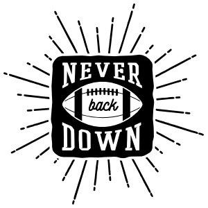 Never Back Down Football Sticker