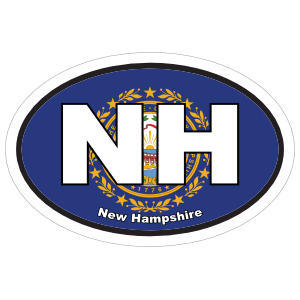 New Hampshire Nh State Flag Oval Sticker