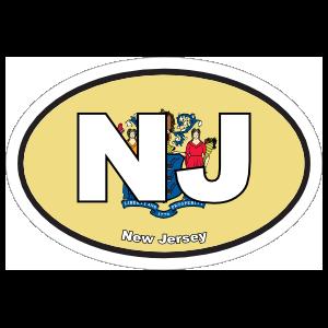 New Jersey Nj State Flag Oval Sticker