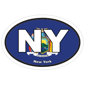 New York Ny State Flag Oval Sticker