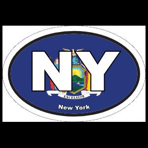 New York Ny State Flag Oval Sticker