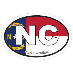 North Carolina Nc State Flag Oval Sticker