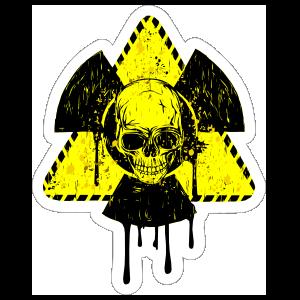 Nuclear Warning Dripping Skull Sticker