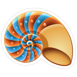 Orange and Blue Nautilus Shell Sticker