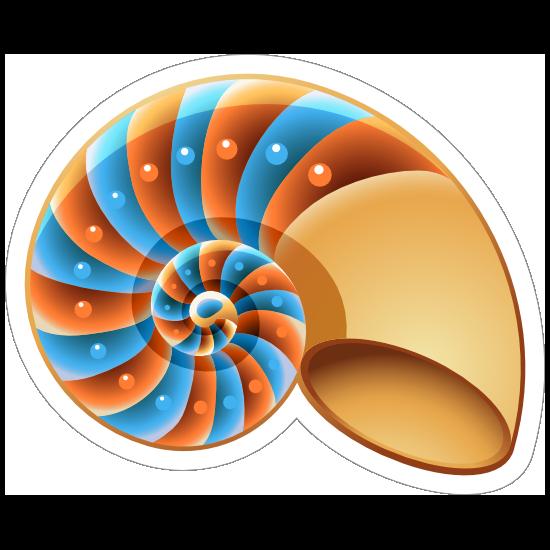 Orange and Blue Nautilus Shell Sticker