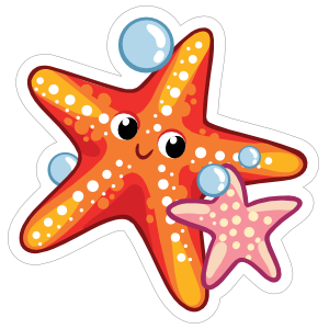 Orange and Pink Starfish Sticker