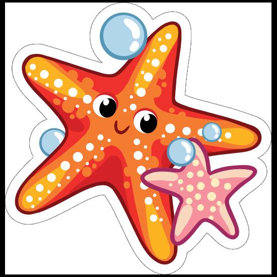Orange and Pink Starfish Sticker