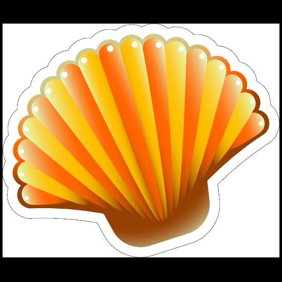 Orange Scallop Seashell Sticker