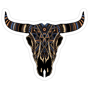 Painted Bull Cow Skull With Horns Sticker