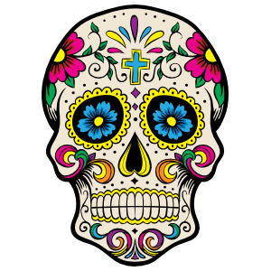 Painted Skull with Flowers and Cross Sticker