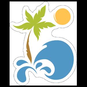 Palm Tree Beach Sticker