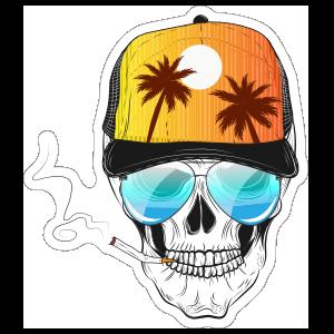 Palm Tree Hat Skull with Baseball Cap Sticker