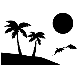 Palm Trees Beach Scene With Dolphins Sticker