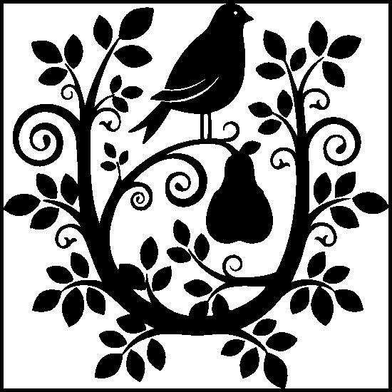 Partridge In A Swirly Pear Tree Sticker