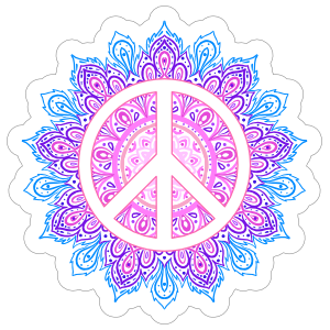 Peace Sign Mandala Hippie Sticker