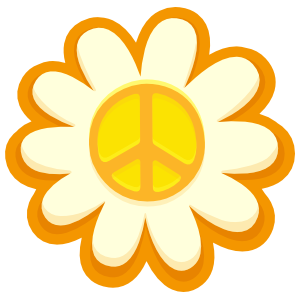 Peace Sign Sunflower Hippie Sticker