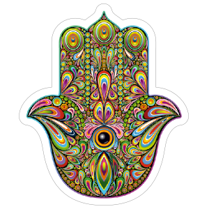 Peacock Design Hamsa Boho Sticker