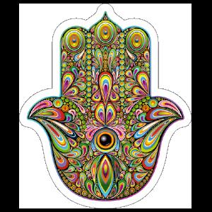 Peacock Design Hamsa Boho Sticker