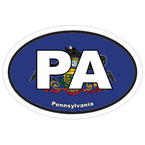 Pennsylvania Pa State Flag Oval Sticker