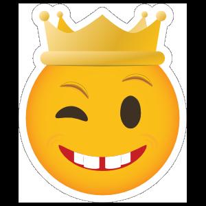 Phone Emoji Sticker Crown Winking