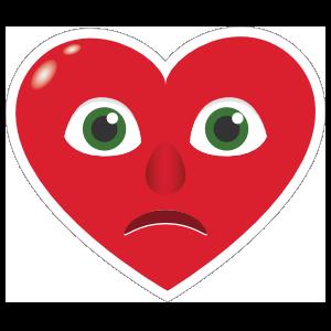 Phone Emoji Sticker Heart Face Sad