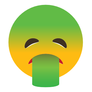Phone Emoji Sticker Puking Green