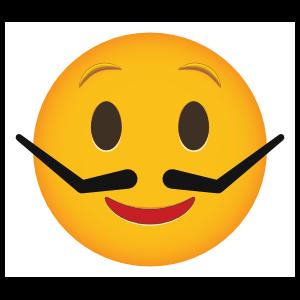 Phone Emoji Sticker Silly Mustache