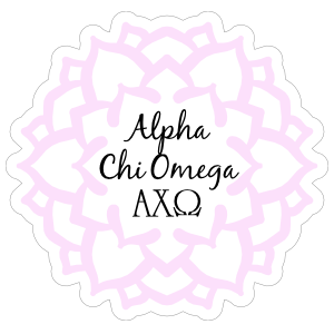 Pink Alpha Chi Omega Mandala Sticker