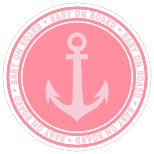 Pink Anchor Baby on Board Sticker