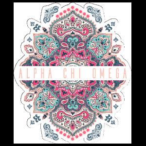Pink and Blue Alpha Chi Omega Mandala Sticker