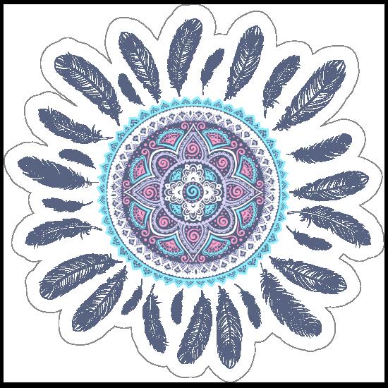 Pink and Blue Mandala with Feathers Boho Sticker