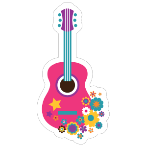 Pink Guitar with Flowers Hippie Sticker