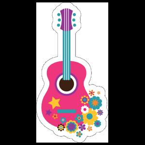 Pink Guitar with Flowers Hippie Sticker