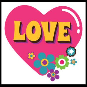 Pink Heart with Flowers Hippie Sticker