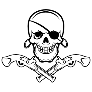 Pirate Eye Patch Skull with Pistols Sticker