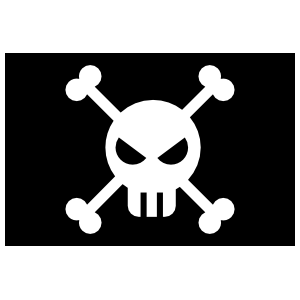 Angry Skull Pirate Flag Sticker