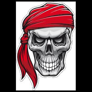 Pirate Mate Skull with Bandana Sticker