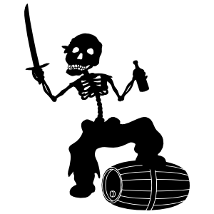 Pirate Skeleton Walking On Beer Barrel Sticker