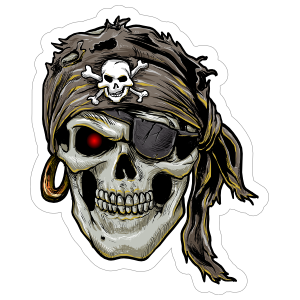 Pirate Skull With Eyepatch Sticker