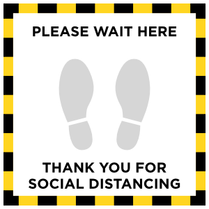 Please Wait Here Square Floor Sticker