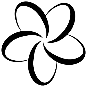 Outline Of Plumeria Flower Sticker