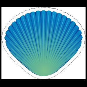 Pretty Blue and Green Seashell Sticker