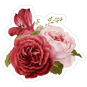 Pretty Bouquet of Roses Flower Stickers